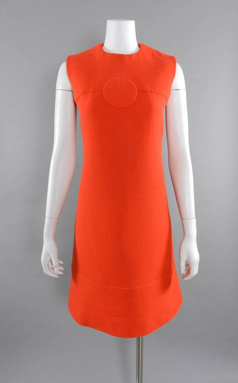 Red Pierre Cardin Vintage 1960's Orange Wool Mod Dress For Sale