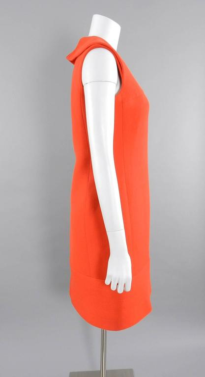 Pierre Cardin Vintage 1960's Orange Wool Mod Dress In Excellent Condition For Sale In Toronto, CA