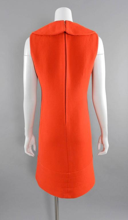 Pierre Cardin Vintage 1960's Orange Wool Mod Dress 5