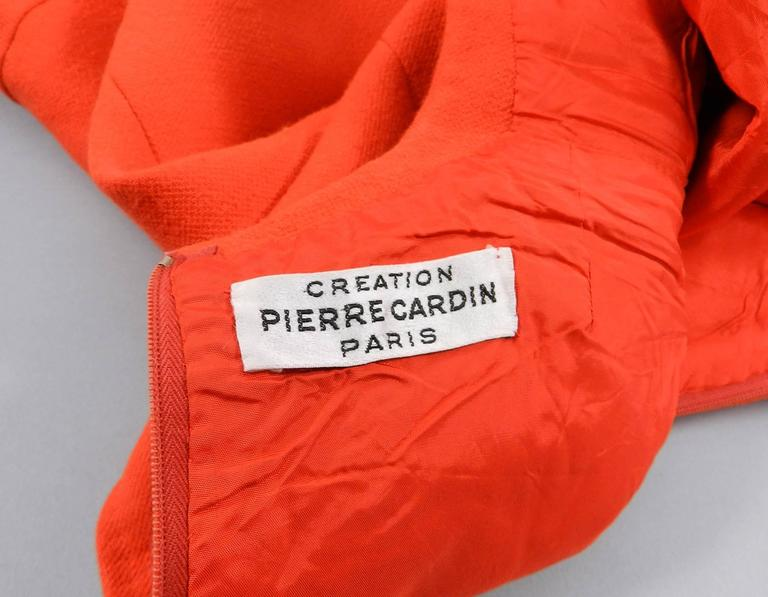 Pierre Cardin Vintage 1960's Orange Wool Mod Dress For Sale 2