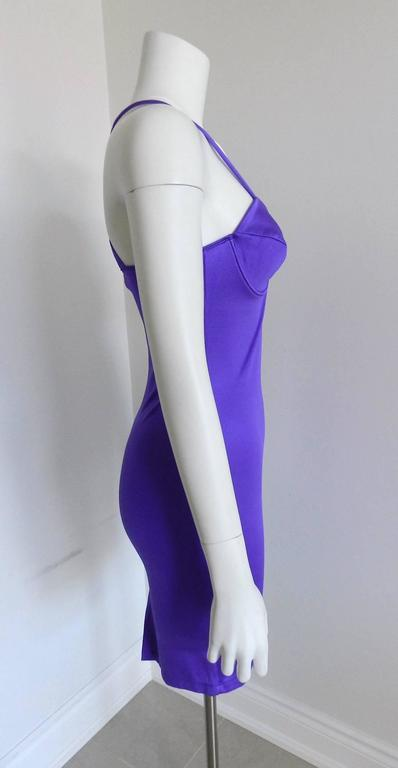 Versus by Gianni Versace Vintage Spring 1994 Electric purple Bodycon Dress 3