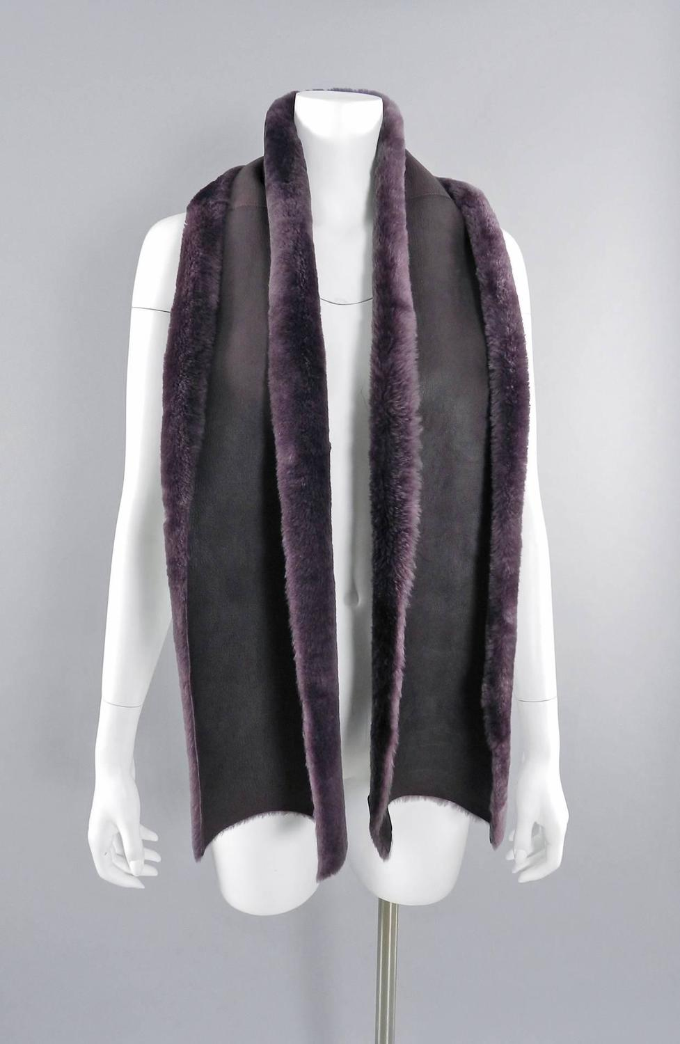 chanel purple shearling scarf for sale at 1stdibs
