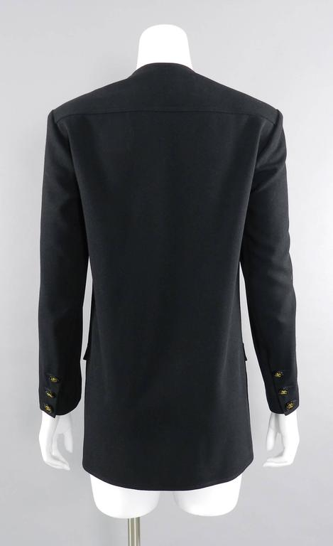 Women's Chanel 1990's Black Rayon Jacket with Gold CC logo buttons For Sale