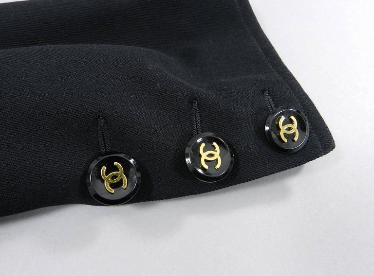 Chanel 1990's Black Rayon Jacket with Gold CC logo buttons For Sale 2