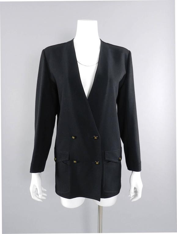 Chanel 1990's Black Rayon Jacket with Gold CC logo buttons For Sale 3