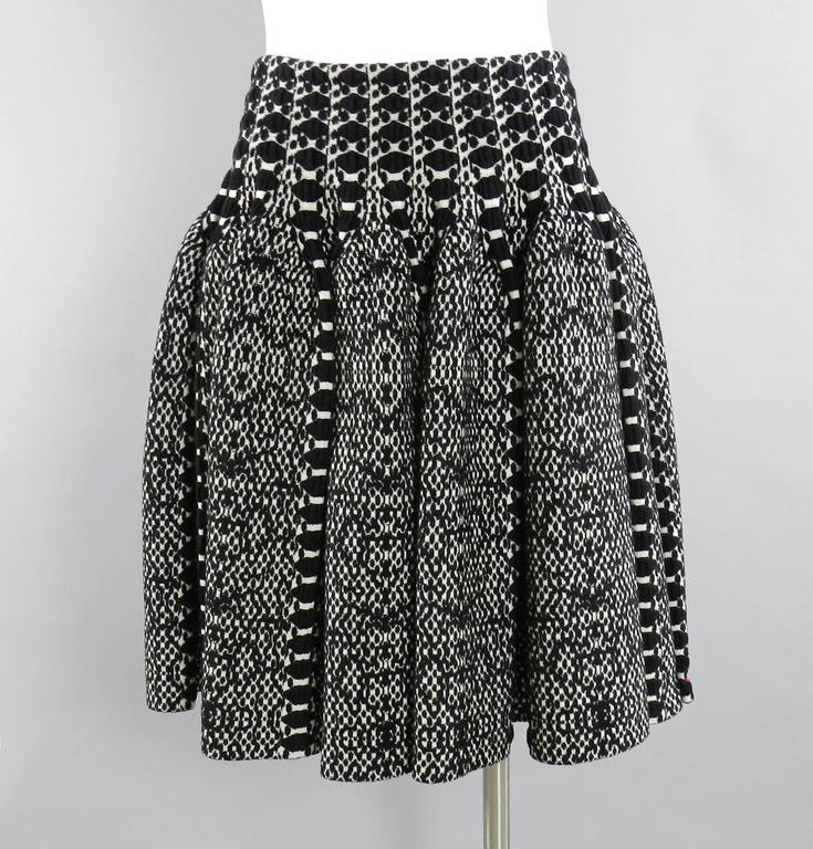 Alaia Black and White Knit Jersey Peplum Top and Flare Skirt Set 2