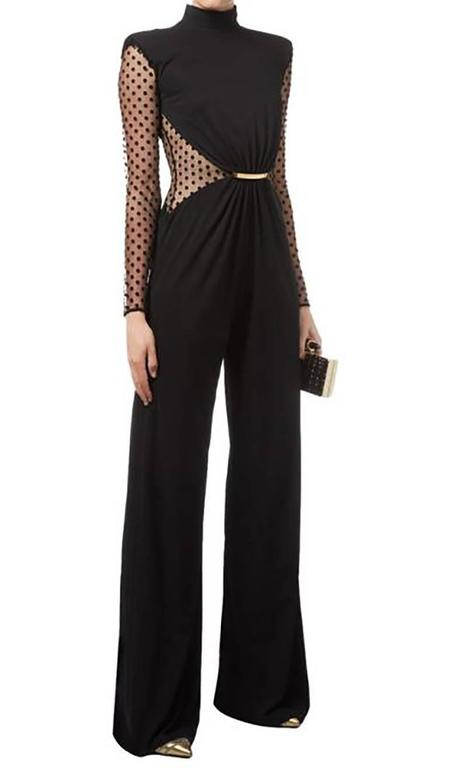 Balmain Pre-fall 2015 Black Polkadot Mesh Panel Jumpsuit 3