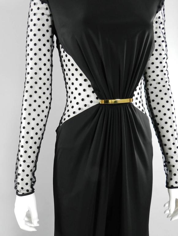 Balmain Pre-fall 2015 Black Polkadot Mesh Panel Jumpsuit 4