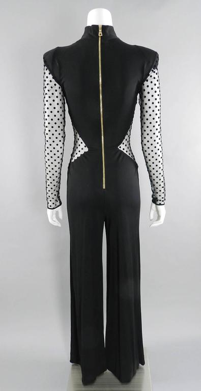 Balmain Pre-fall 2015 Black Polkadot Mesh Panel Jumpsuit 6