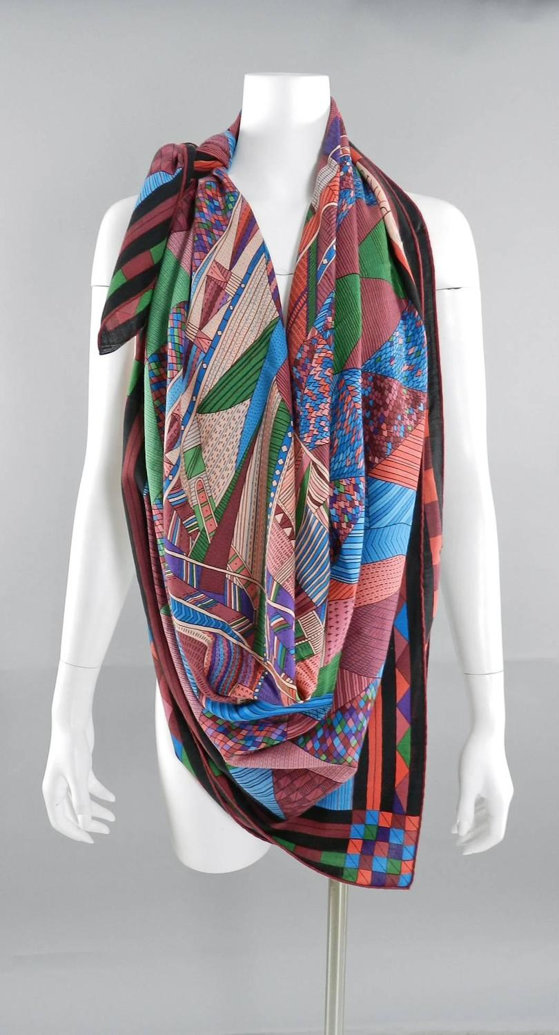 Hermes Patchwork Horse Cashmere silk 140cm shawl scarf at ...