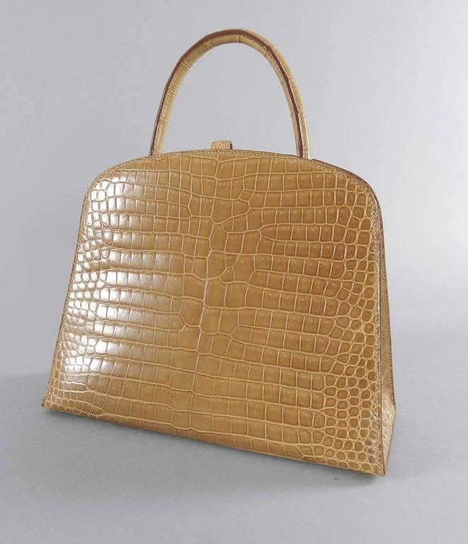 Brown Hermes Dalvy Crocodile 25cm - Vintage 1998 For Sale