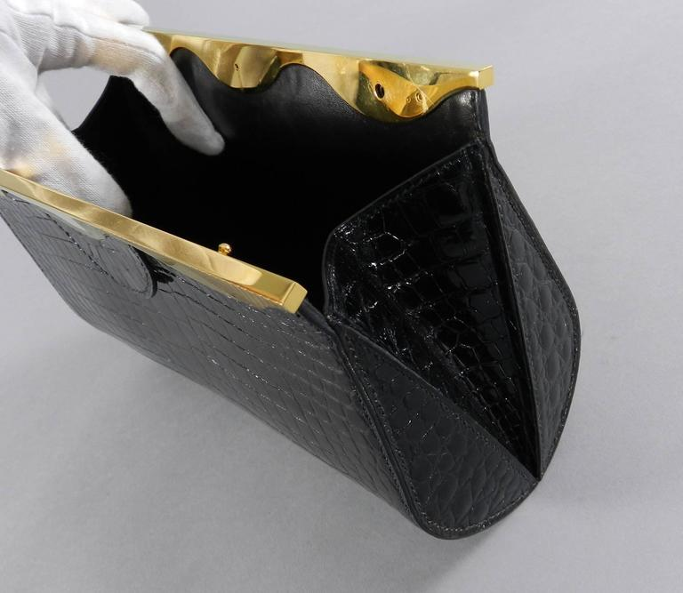Hermes Vintage 1998 Limited Edition Black Crocodile Clutch with Gold Frame For Sale 1