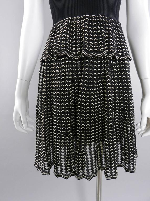 Alexander McQueen Black Ribbed Stretch Knit Peplum Dress In New Never_worn Condition For Sale In Toronto, ON