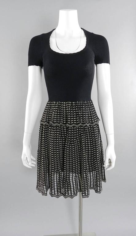 Alexander McQueen Black Ribbed Stretch Knit Peplum Dress For Sale 3