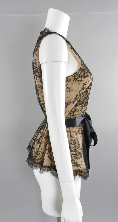 Oscar de la Renta Lace Blouse with Black Silk Satin Sash 2