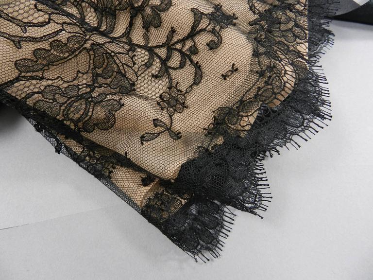 Oscar de la Renta Lace Blouse with Black Silk Satin Sash 6
