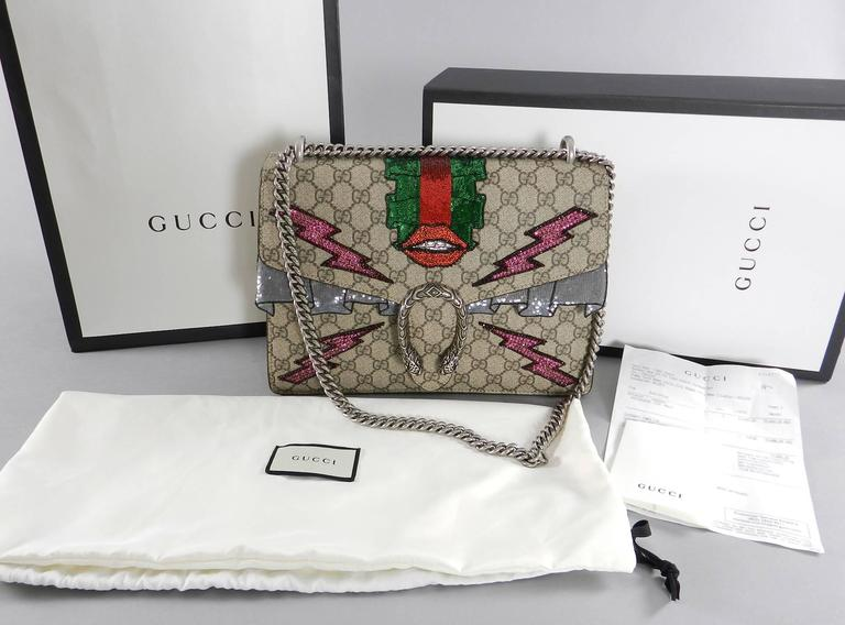 Gucci Dionysus Gg Supreme Embroidered Bag Lips And