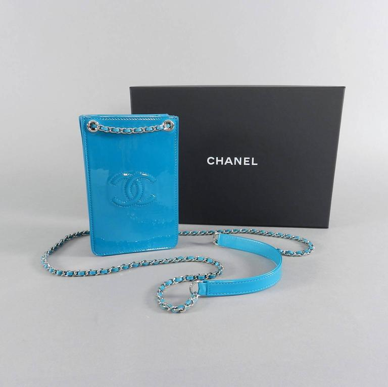 6bac72421242 Chanel 14P Runway Turquoise Patent Crossbody Phone Case / Bag. Excellent  pre-owned condition