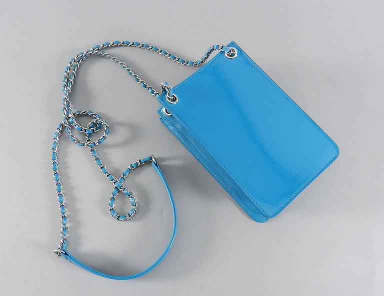 d252bd54537a Chanel 14P Runway Turquoise Patent Crossbody Phone Case / Bag For Sale 1