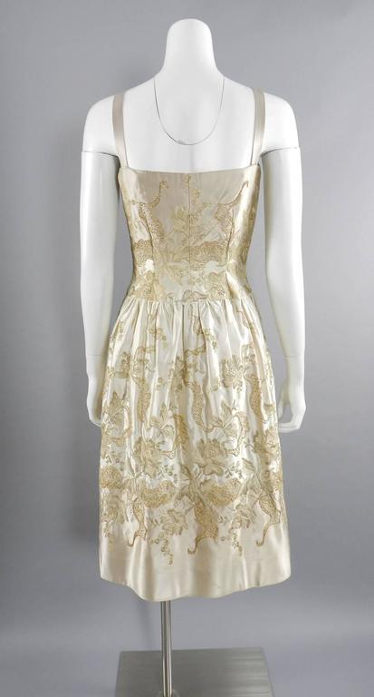 Beige Vintage 1950's Florilege Balmain Ivory Silk Embroidered Cocktail Dress For Sale