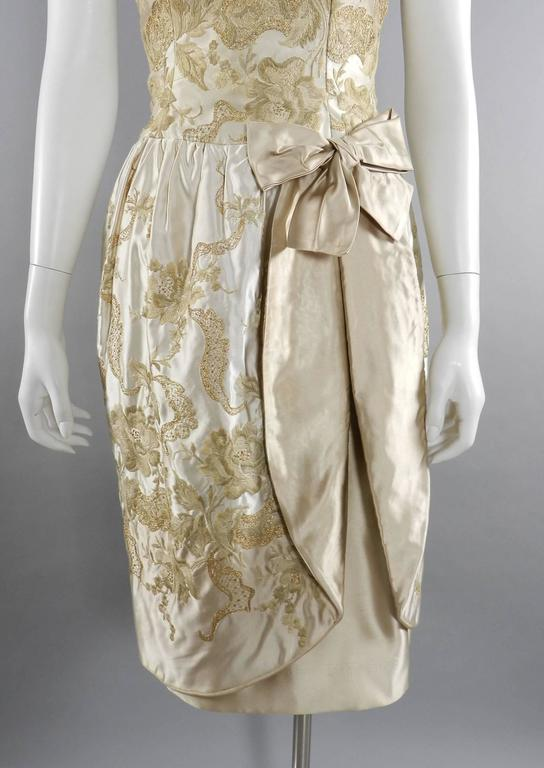 Vintage 1950's Florilege Balmain Ivory Silk Embroidered Cocktail Dress In Excellent Condition For Sale In Toronto, CA