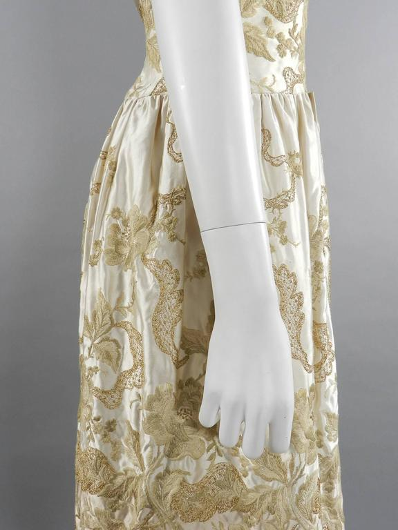Women's Vintage 1950's Florilege Balmain Ivory Silk Embroidered Cocktail Dress For Sale