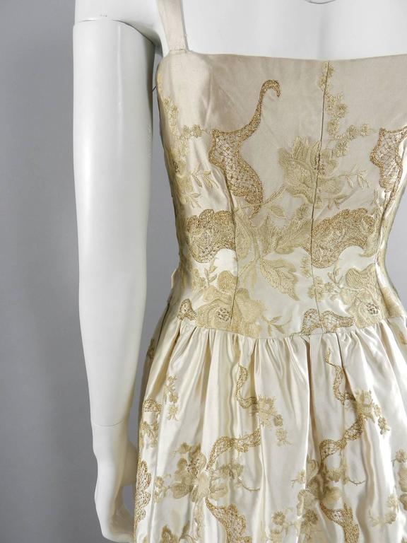 Vintage 1950's Florilege Balmain Ivory Silk Embroidered Cocktail Dress For Sale 1