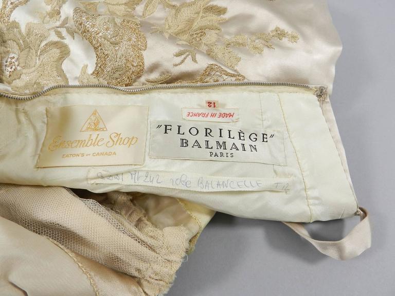 Vintage 1950's Florilege Balmain Ivory Silk Embroidered Cocktail Dress For Sale 2