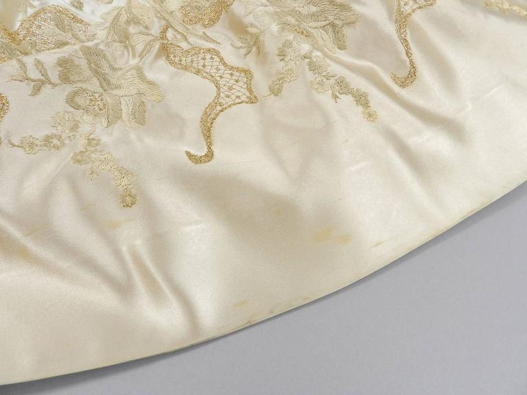 Vintage 1950's Florilege Balmain Ivory Silk Embroidered Cocktail Dress For Sale 3