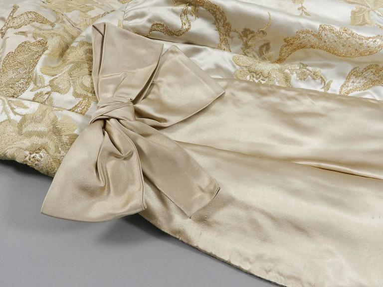 Vintage 1950's Florilege Balmain Ivory Silk Embroidered Cocktail Dress For Sale 4