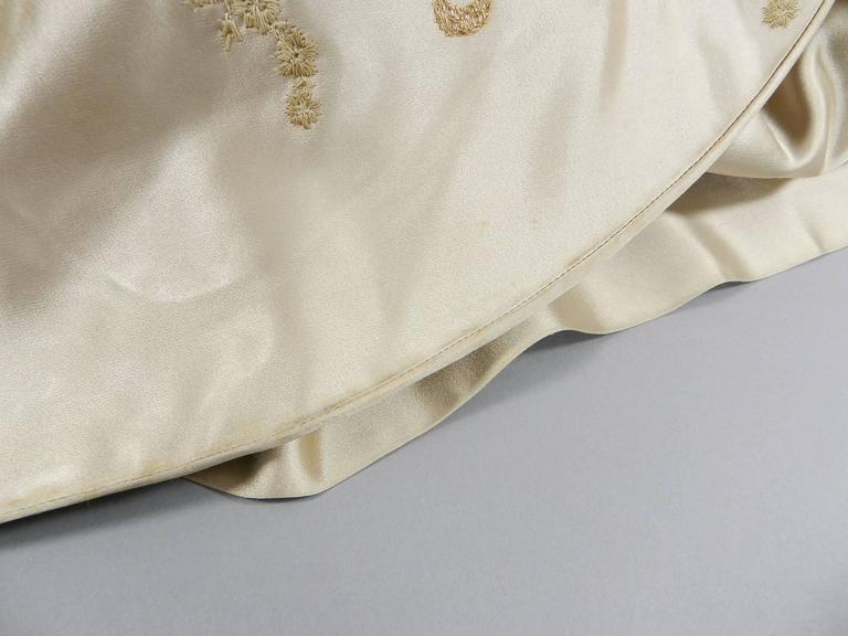 Vintage 1950's Florilege Balmain Ivory Silk Embroidered Cocktail Dress For Sale 5