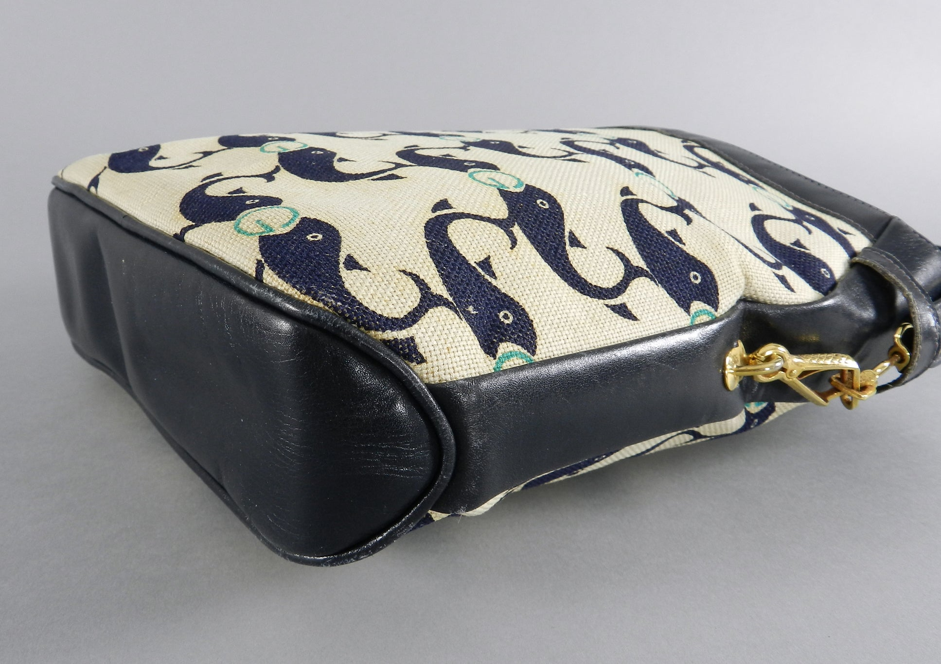 564cf8af5ac Vintage Gucci 1970 s Whale Pattern Canvas and Leather Bag at 1stdibs