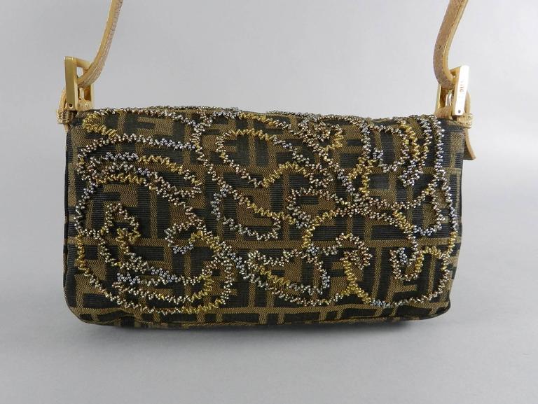 4acf0ed35514 Black Fendi Zucca Logo Fabric Beaded Baguette Bag with Lizard Trim For Sale
