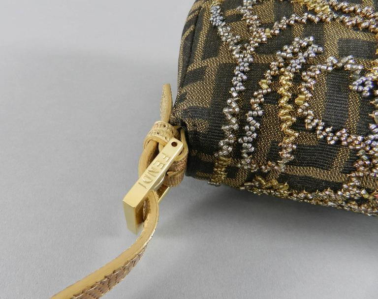 cbbb29b622b1 Fendi Zucca Logo Fabric Beaded Baguette Bag with Lizard Trim In Excellent  Condition For Sale In