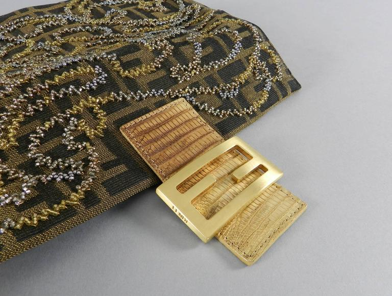 b01576160bf9 Women s Fendi Zucca Logo Fabric Beaded Baguette Bag with Lizard Trim For  Sale