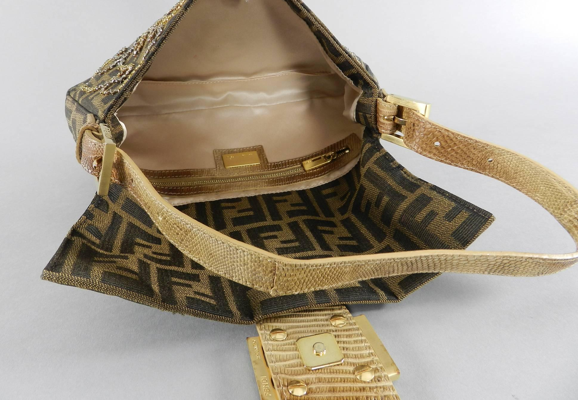 ccc2255143bf Fendi Zucca Logo Fabric Beaded Baguette Bag with Lizard Trim at 1stdibs