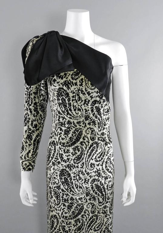 Lanvin 1980's Vintage Panne Velvet 1 Shoulder Gown 3