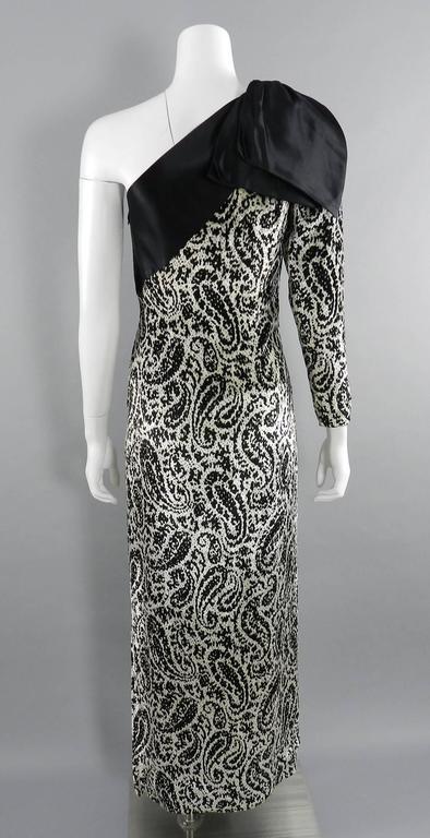 Lanvin 1980's Vintage Panne Velvet 1 Shoulder Gown 5