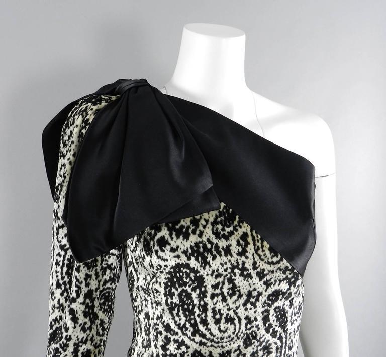 Lanvin 1980's Vintage Panne Velvet 1 Shoulder Gown 8