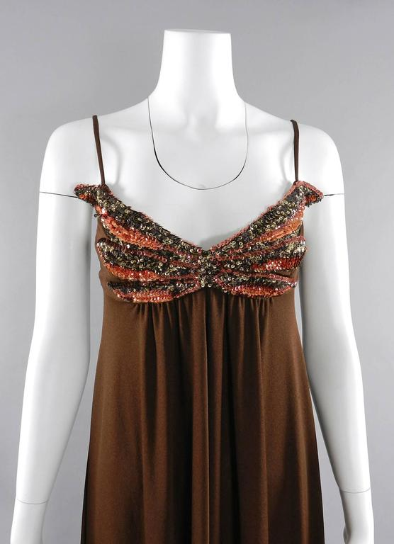Vintage 1970's Frank Usher Brown Disco Sequin Butterfly Dress 3