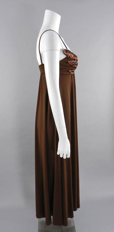 Vintage 1970's Frank Usher Brown Disco Sequin Butterfly Dress 4