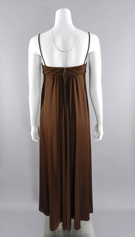 Vintage 1970's Frank Usher Brown Disco Sequin Butterfly Dress 6