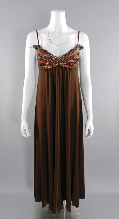 Vintage 1970's Frank Usher Brown Disco Sequin Butterfly Dress 2