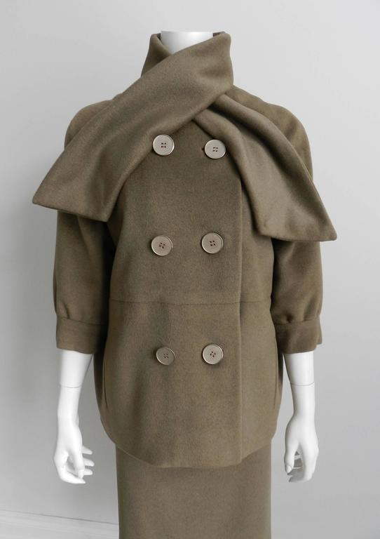 Women's Nina Ricci 1960's Brown Cashmere Skirt Suit For Sale