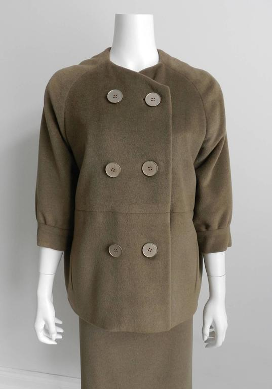 Nina Ricci 1960's Brown Cashmere Skirt Suit For Sale 1