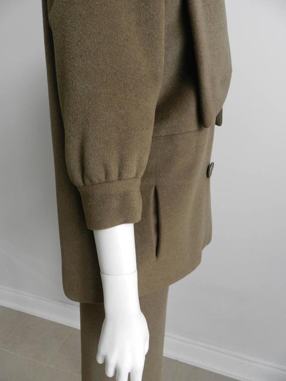 Nina Ricci 1960's Brown Cashmere Skirt Suit For Sale 3