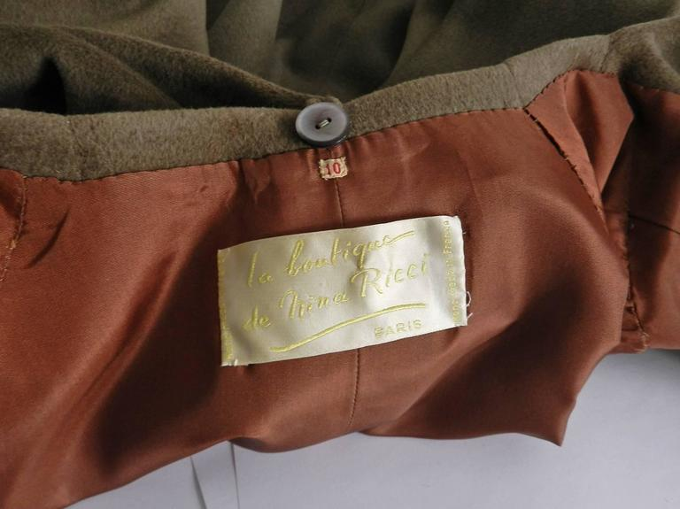 Nina Ricci 1960's Brown Cashmere Skirt Suit For Sale 4