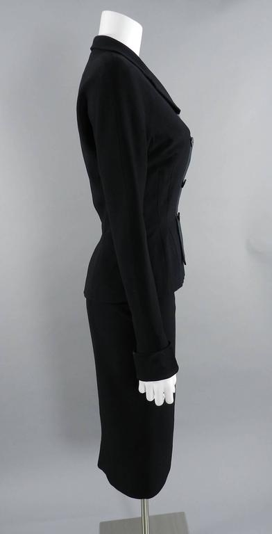 Pierre Balmain 1950's Black Silk Satin and Wool Skirt Suit In Excellent Condition For Sale In Toronto, CA