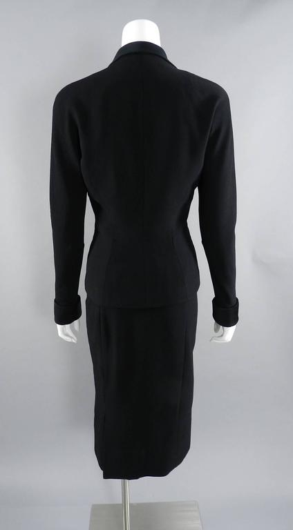 Women's Pierre Balmain 1950's Black Silk Satin and Wool Skirt Suit For Sale