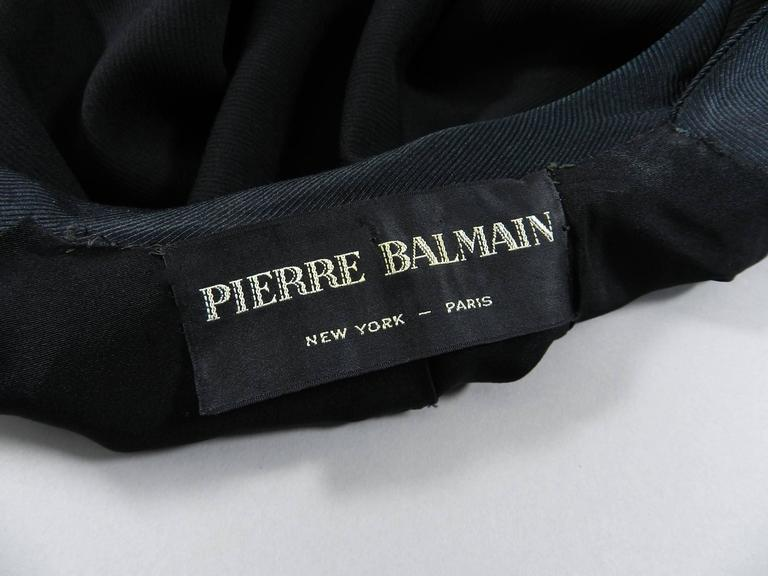 Pierre Balmain 1950's Black Silk Satin and Wool Skirt Suit For Sale 1